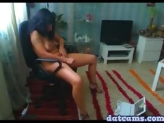 hawt russian dark haired gal home alone fingering