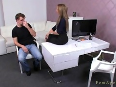 fellow masturbating for male agent in her office
