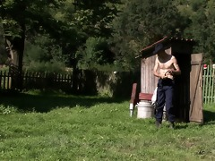 old fellow pleases his son\s cheating gf outdoors