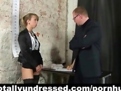 perverted job interview for youthful secretary