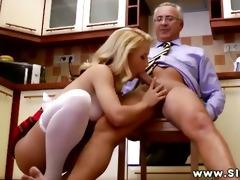 youthful euro hottie sitting on old mans pecker