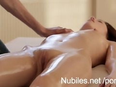 miniature tit coed gets soaked massage and facial