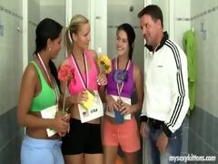 sporty teenies fucking trainer in locker room