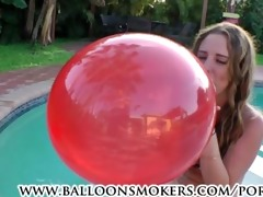 breasty legal age teenager blows to pop balloons