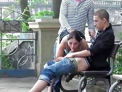 cute juvenile cutie in public three-some sex
