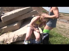 sporty youthful golden-haired receives drilled in