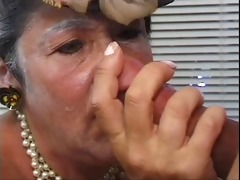 mature woman blows youthful dude&s hard