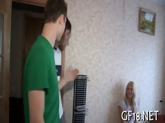 charming legal age teenager beauty stands doggy