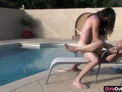 slutty amateurs fucking by the swimming pool