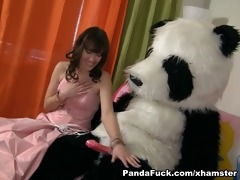 youthful fairy revived toy panda and engulf