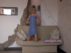 bushy golden-haired with great body striptease