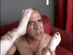 redhead cherry sexy foot play until jizz on