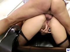 stylish british playgirl tastes old guy cum