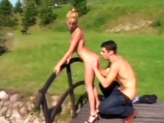 slender blonde hotty receive fuckt on a bridge