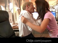 youthful concupiscent maid bonks her old boss to