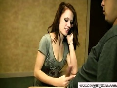 young cfnm brunette hair jerking dick