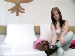 neat youthful angel having sex on white sofa