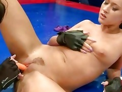 wild juvenile brunettes wrestling