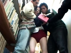 youthful schoolgirl groped in a library