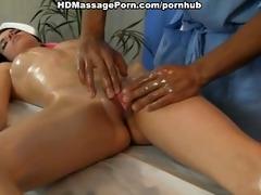 titted brunette doing erotic massage