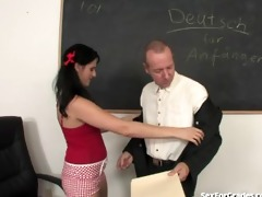 slutty schoolgirl sucks and bonks her teacher