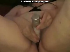 bulky angel pleases her snatch with sex toy