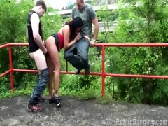 risky public sex fuckfest with brunette hair part
