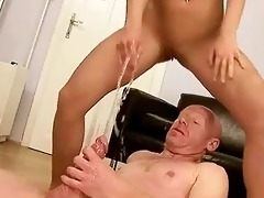 older man fucking and peeing on youthful cutie