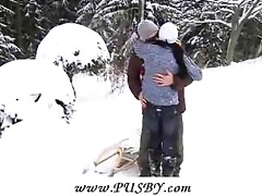 33 year old gal getting fucked in the snow