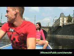 youthful pair fucking on the public boat
