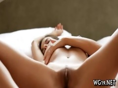 girl plays with large sex tool