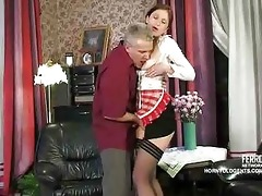 old pounder copulates youthful russian maid