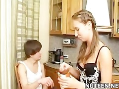 cute amateur teen with merry melons copulates