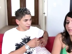 youthful brunette hair giving her boyfriend