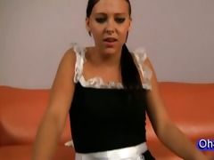 youthful little excited maid spins on a penis