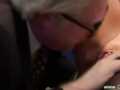 old geezer goes down on juvenile doxy on his