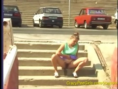 juvenile angels pissing outdoor