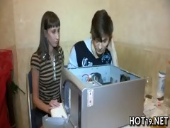 girl plays with wang