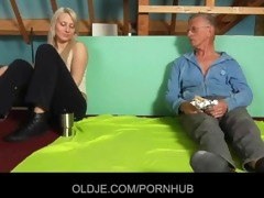 shy oldman enticed and screwed by ballsy hussy