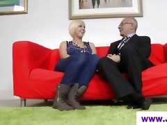 golden-haired in nylons and old dude