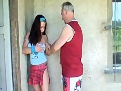 old dude scores hot brunette hair
