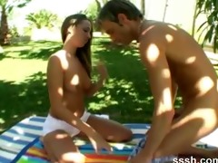 outdoor sex with youthful dark brown honey