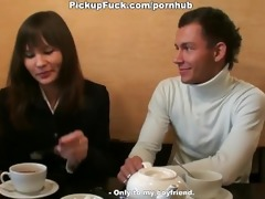 cutie shows boobs and sucks wang in a cafe