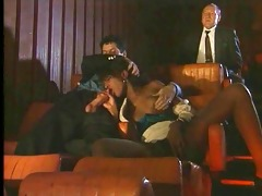 ebony drilled by young and old in the cinema