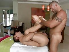 massaging juvenile hard penis