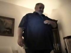 bulky bear dad - strokes his corpulent rod