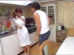 youthful asian housewife drilled
