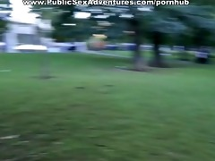 naughty honey sucks in the park