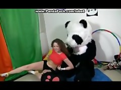 titted brunette to have sex with biggest toy panda