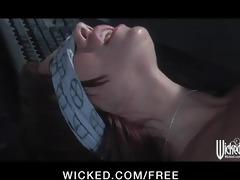 horny dark brown office secretary blindfolded